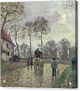 The Coach To Louveciennes Acrylic Print by Camille Pissarro