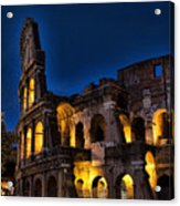 The Coleseum In Rome At Night Acrylic Print by David Smith