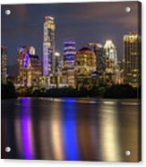 The Colorful Neon Lights On The Austin Skyline Shine Bright Acrylic Print