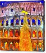 The Colosseum And Christmas  - Van Gogh Style -  - Da Acrylic Print