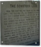 The Comstock Lode Marker Acrylic Print