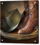 The Cowboy Boots, Hat And Lasso Acrylic Print