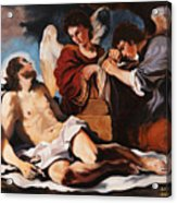The Dead Christ Mourned By Two Angels Acrylic Print by Rebecca Poole