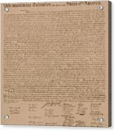 The Declaration Of Independence Acrylic Print by War Is Hell Store