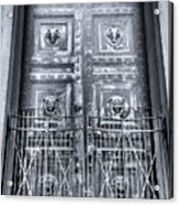 The Door At The Parthenon In Nashville Tennessee Black And White Acrylic Print
