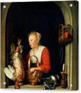 The Dutch Housewife Or The Woman Hanging A Cockerel In The Window 1650 Acrylic Print