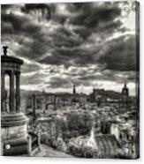 The Edinburgh Skyline, And Dugald Stewart Monument. Acrylic Print