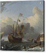 The Eendracht And A Fleet Of Dutch Men Of War Acrylic Print