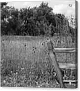 The End Of The Fence Bw Acrylic Print