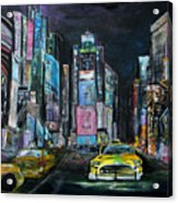 The Evening Of Time Square Acrylic Print