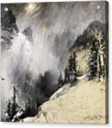 The Falling Flakes Mountain Scene. Yosemite A Mountain Snowfall Acrylic Print