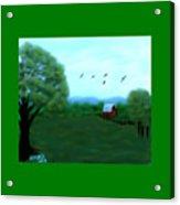The Farm Below The Mountains Acrylic Print