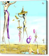 The Female Deity Sending Out Her Minions To Gather Male Religious Symbols One Acrylic Print