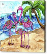 The Flamingo Family's Day At The Beach Acrylic Print