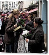 The Flower Seller Acrylic Print by Lori  Secouler-Beaudry