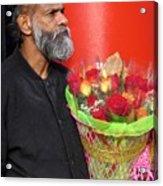 The Flower Vendor - Man Selling Roses Acrylic Print
