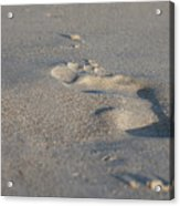 The Footprint Of Invisible Man On The Sand Acrylic Print