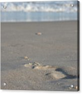 The Footprint Of Invisible Man The Sand And The Sea Acrylic Print