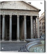 The Fountain In Front Of Pantheon Acrylic Print