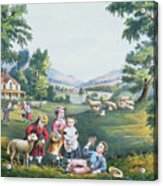 The Four Seasons Of Life Childhood Acrylic Print by Currier and Ives