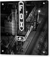 The Fox Thearter Bw Atlanta Night Art Acrylic Print