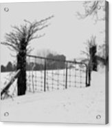 The Frozen Gate Black And White Acrylic Print