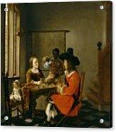 The Game Of Cards Acrylic Print by Hendrik van der Burch