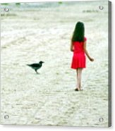 The Girl And The Raven Acrylic Print