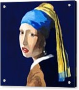 The Girl With A Pearl Earring After Vermeer Acrylic Print