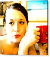 The Girl With A Red Cup  Acrylic Print