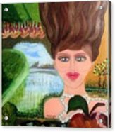 The Girl With A Wooden Hair Acrylic Print