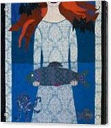 The Girl With Bats And Fish Acrylic Print