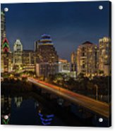 The Glimmering Neon Lights Of The Downtown Austin Skyscrapers Illuminate The Skyline Over Lady Bird Lake Acrylic Print