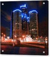 The Gm Renaissance Center At Night From Hart Plaza Detroit Michigan Acrylic Print