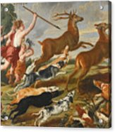 The Goddess Diana And Her Nymphs Hunting Deer Acrylic Print