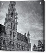 The Grandeur Of The Grand Place Brussels In Black And White  Acrylic Print