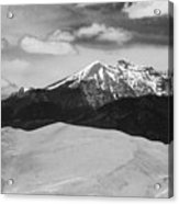 The Great Sand Dunes And Sangre De Cristo Mountains - Bw Acrylic Print