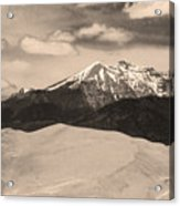 The Great Sand Dunes And Sangre De Cristo Mountains - Sepia Acrylic Print