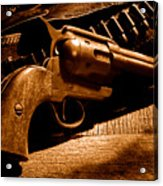 The Gun That Won The West - Sepia Acrylic Print