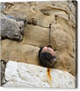 The Hanging Jar - Rough Weathered Stones Rust And Ceramics - A Vertical View Acrylic Print