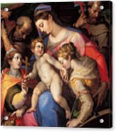 The Holy Family With St Catherine Of Alexandria, St Margaret Of Antioch And St Francis Of Assisi  Acrylic Print