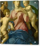The Holy Family With The Infant Saint John The Baptist, Madonna Stroganoff  Acrylic Print