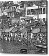 The Holy Ganges - Paint Bw Acrylic Print