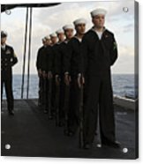 The Honor Guard Stands At Parade Rest Acrylic Print by Stocktrek Images