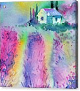 The House By The Lavender Field Acrylic Print