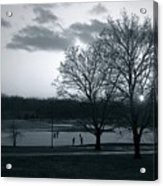 The Ice Skaters...kirby Park Pond Kingston Pa. Acrylic Print by Arthur Miller