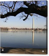 The Iced-over Tidal Basin In Mid-winter Acrylic Print