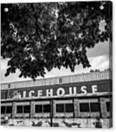 The Icehouse - Black And White - Bentonville Market District - Square Print Acrylic Print