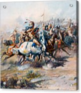 The Indian Encirclement Of General Custer At The Battle Of The Little Big Horn Acrylic Print