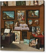 The Interior Of A Picture Gallery With Connoisseurs Admiring Paintings Acrylic Print